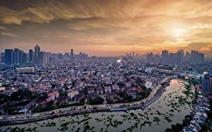 Картинка Здания Реки Мост Филиппины Сверху Manila, Pasig River