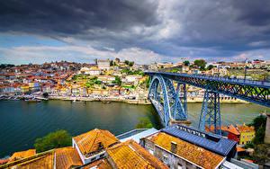 Фотографии Здания Реки Мост Порту Португалия Облако River Douro, Vila Nova de Gaia, Dom Luís I Bridge Города