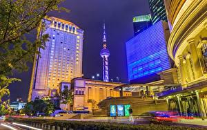 Обои Здания Шанхай Китай Ночные Башни