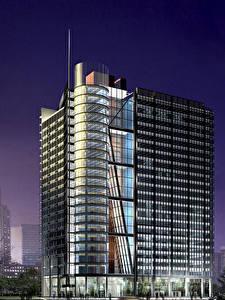 Обои Здания Небоскребы 3D Графика Города