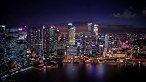 Фото Здания Небоскребы Сингапур Ночные Города
