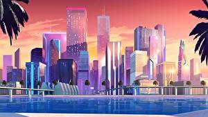 Картинка Дома Небоскребы Ретровейв Города