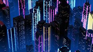Обои Дома Небоскребы Ретровейв Ночью By SynthEx Города
