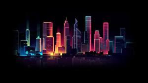 Картинки Здания Небоскребы Синтвейв Ночные by Romain Trystram Города