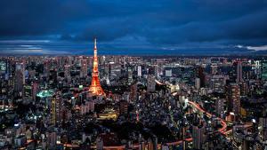 Фотография Дома Небоскребы Токио Япония Мегаполис Tokyo Tower