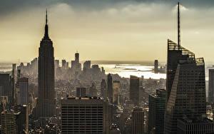 Фотографии Здания Небоскребы Америка Мегаполис Нью-Йорк Города
