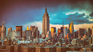 Картинки Дома Небоскребы Америка Нью-Йорк Empire State Building Города