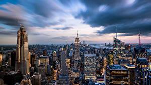 Обои для рабочего стола Здания Небоскребы Америка Нью-Йорк Мегаполис Empire State Building город