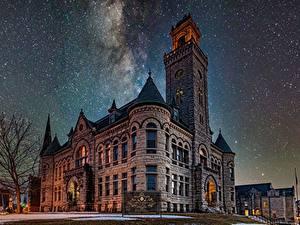Обои Дома Звезды Небо Ночь Wisconsin, Historic Courthouse, Waukesha
