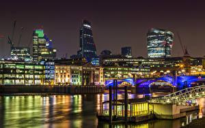 Обои Здания Великобритания Реки Мост Лондон Ночь