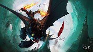 Картинки Как приручить дракона Дракон Мальчик Меча Броне Фэнтези
