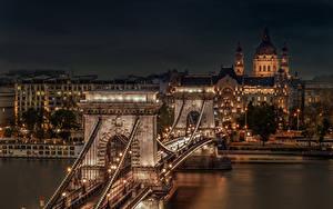 Фото Венгрия Будапешт Здания Реки Мост Ночь Уличные фонари Chain Bridge город