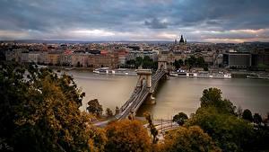 Фотография Венгрия Будапешт Реки Мосты Дома Chain Bridge, Danube River, St. Stephen's Basilica