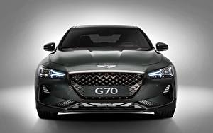 Обои Hyundai Спереди Серый Металлик Genesis 2019 G70 машина