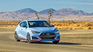 Обои для рабочего стола Hyundai Спереди Голубой Едущая Hatchback, Veloster N, US-spec, 2018 машины