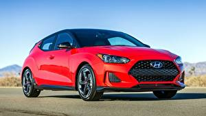 Картинки Hyundai Красных Асфальта Veloster, Turbo, US-spec, 2018 Автомобили