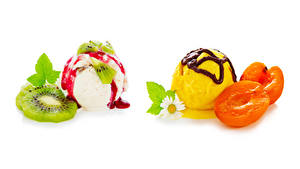 Обои для рабочего стола Мороженое Абрикос Киви Шоколад Ромашка Белом фоне Шар Пища
