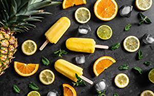 Картинки Мороженое Лимоны Апельсин Льда Нарезка Пища