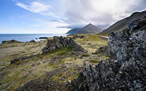 Обои Исландия Побережье Горы Утес Природа