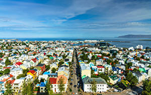 Картинка Исландия Дома Море Сверху Улица Горизонта Reykjavik город