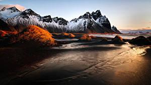 Фотография Исландия Гора Vestrahorn Stockksness Природа