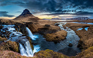 Картинка Исландия Гора Водопады Киркьюфетль гора Облачно Природа
