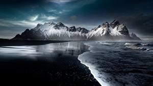 Обои Исландия Горы Снега Пляж Hofn, Austurland Природа