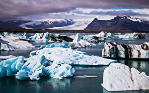 Обои для рабочего стола Исландия Горы Льда Облако Jökulsarlon Природа