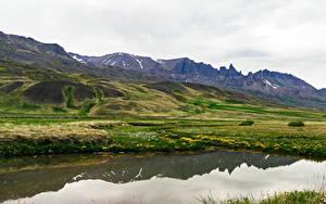 Фотография Исландия Горы Озеро Холмы Мох Snaefellsnesog Hnappadalssysla