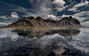 Фото Исландия Гора Небо Залив Облачно