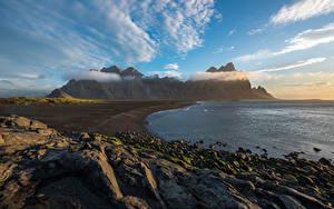 Фотографии Исландия Горы Камни Небо Облако Vestrahorn Природа