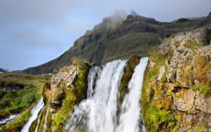 Картинка Исландия Горы Водопады Скала Мха Природа
