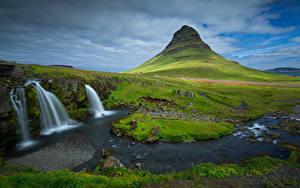 Фото Исландия Горы Водопады Облачно Kirkjufell Природа