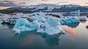 Картинки Исландия Воде Гора Льда Снега Природа