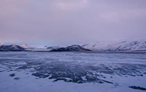 Картинка Исландия Зима Горы Снег Природа