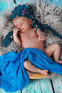 Фотография Младенца Шапки Спит Дети
