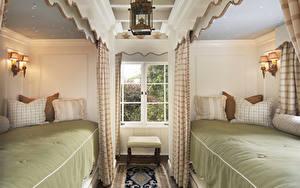 Обои Интерьер Спальня Кровать Лампа Окно