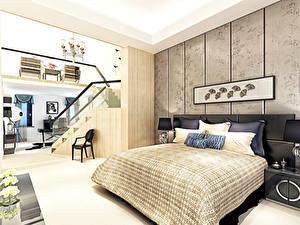 Картинки Интерьер Спальне Дизайна Кровать Подушка 3D Графика