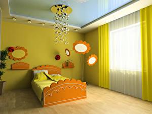 Фотографии Интерьер Детская комната Дизайн Кровать Люстра 3D Графика