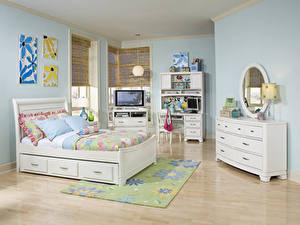Картинка Интерьер Детская комната Дизайн Кровать Подушка