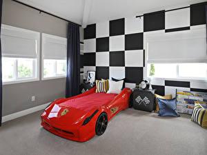 Картинки Интерьер Детская комната Дизайн Спальня Подушки Кровате