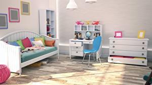 Фотографии Интерьер Детская комната Дизайн Диван Стулья