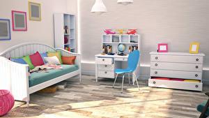 Фотографии Интерьер Детская комната Дизайн Диване Подушка Стул