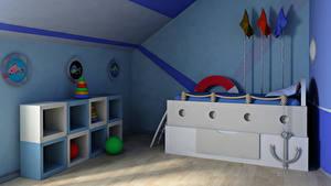 Картинки Интерьер Детская комната Игрушки Дизайн 3D Графика