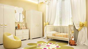 Обои Интерьер Детская комната Игрушки Дизайн Кровать Шторы