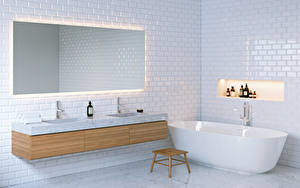 Фотографии Интерьер Дизайн Ванная Зеркало 3D Графика
