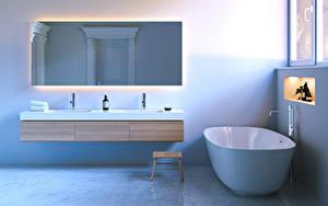 Фото Интерьер Дизайн Ванная Зеркало 3D Графика