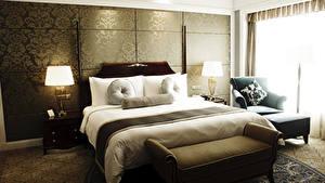 Фотографии Интерьер Дизайн Спальня Кровать Лампа Кресло