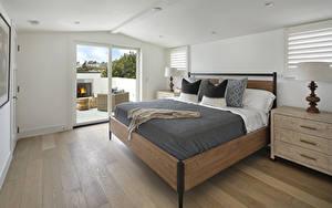 Обои для рабочего стола Интерьер Дизайн Спальни Кровати Подушки