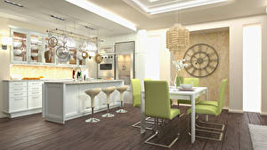 Обои Интерьер Дизайна Кухни Стола Стул 3D Графика